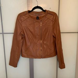 WHBM Genuine Leather Brown Moto Jacket